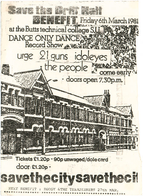 Drill Hall Benefit gig flyer